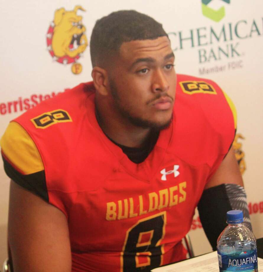 Former Ferris football standout Austin Edwards wears the uniformrecentlynamed No. 1 in small college football according to a social media poll compiled by The College Football Network. (Pioneer file photo)