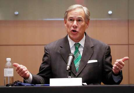 Governor Greg Abbott talks to the media after holding a COVID-19 vaccination roundtable discussion with healthcare professionals at Houston Methodist Hospital Tuesday, Jan. 19, 2021, in Houston.