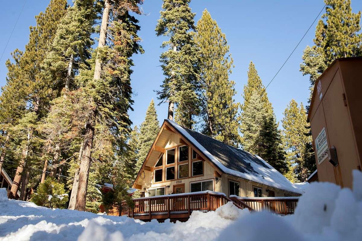 An Airbnb rental home is seen in the Agate Bay community near Lake Tahoe in Carnelian Bay in December 2020.