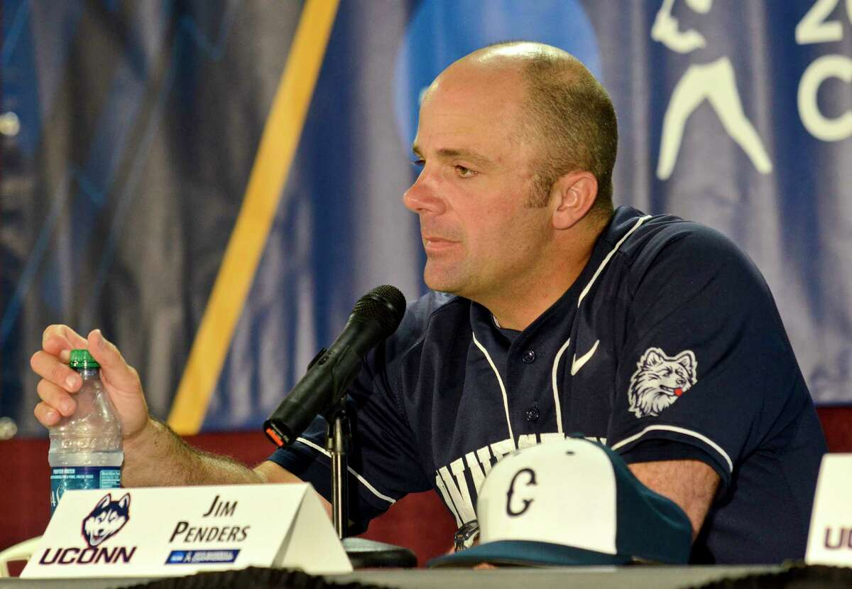 UConn head coach Jim Penders speaks to media following the conclusion of an NCAA college baseball tournament regional game against Virginia Tech at English Field in Blacksburg, Va., Sunday, June 2, 2013. (AP Photo/Michael Shroyer)