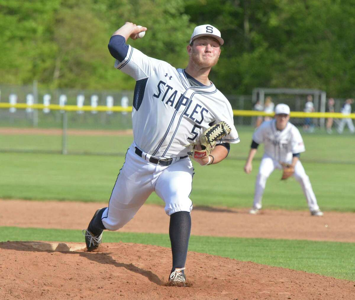Staples High School's #5 Ben Casparius on the mound vs. New Canaan during baseball action on Wednesday May 10, 2017 at Staples High in Westport Conn.