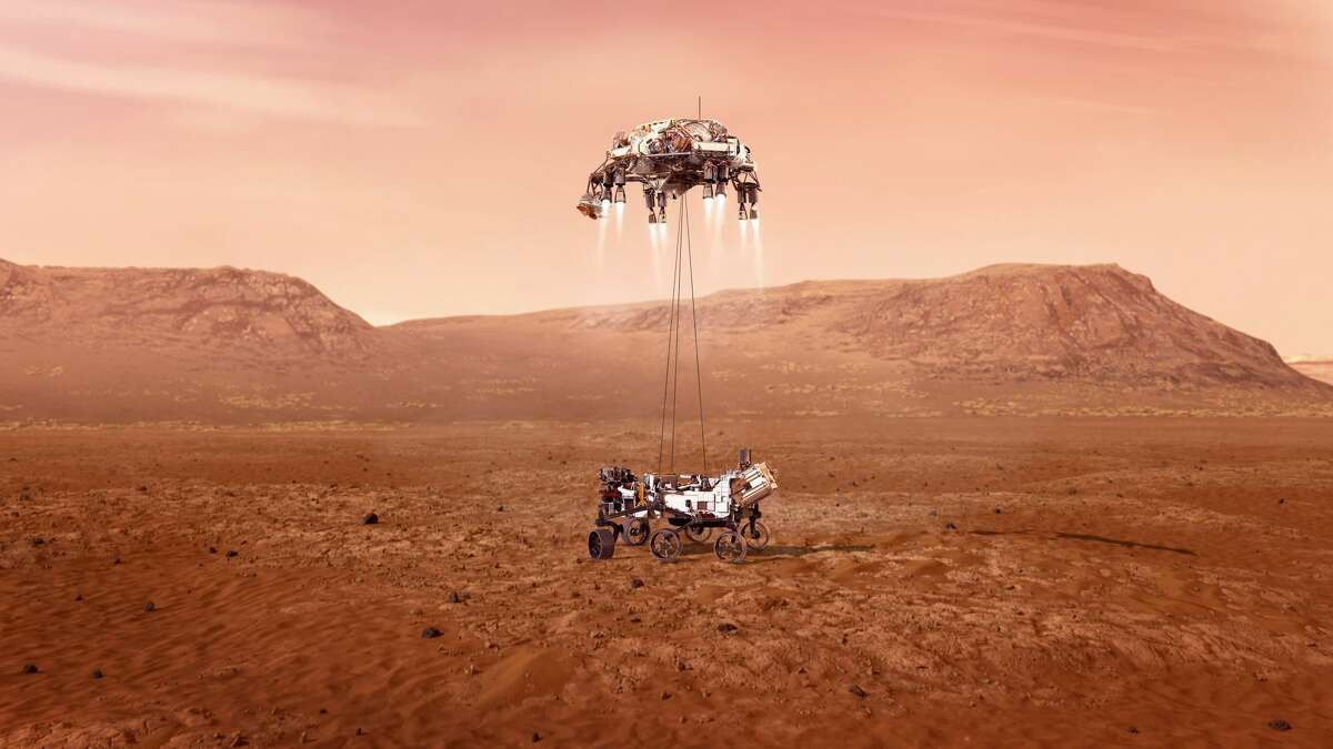 An illustration of NASA's Perseverance rover landing safely on Mars.