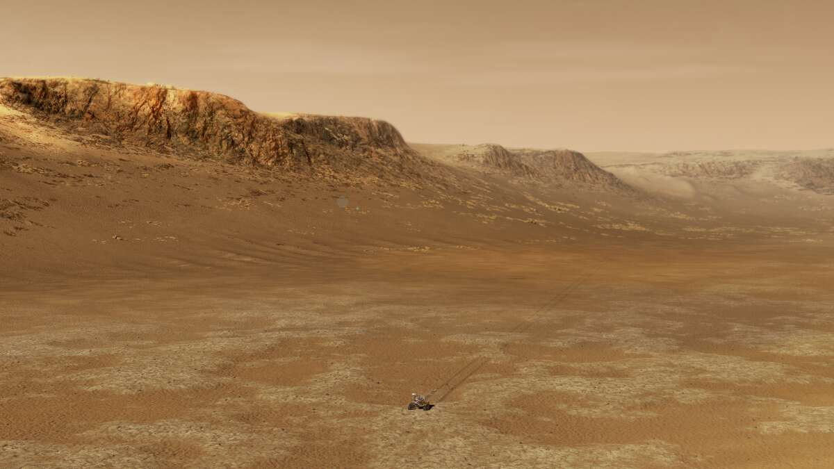 This illustration shows the NASA Perseverance rover exploring in the Jezero Crater.