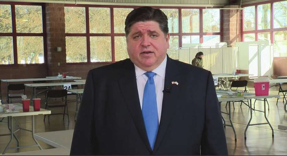 Gov. J.B. Pritzker gives a pre-recorded budget address Wednesday at the Illinois State Fairgrounds. Photo: Jerry Nowicki
