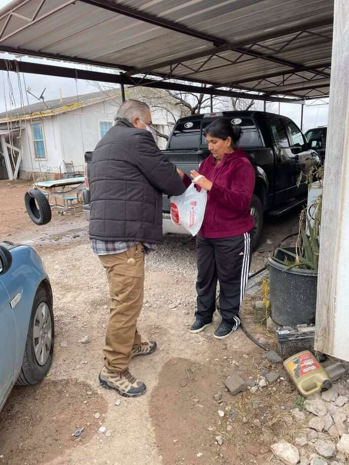 Sheriff Martin Cuellar and his office gave out food and water to Webb County residents in need. Photo: Courtesy /Webb County Sheriff's Office