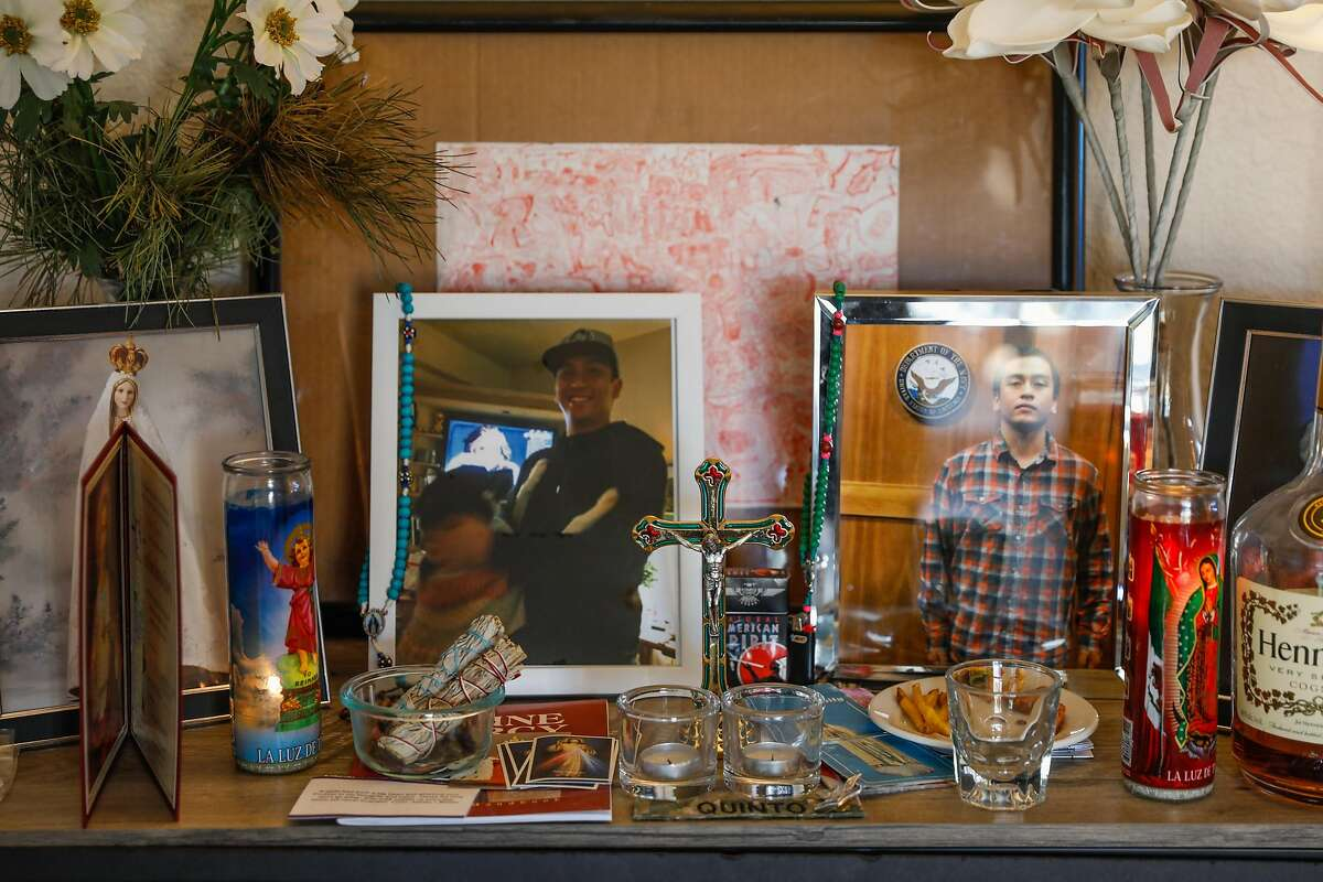 An altar to honor Angelo Quinto is seen in his mother's home in Antioch. Quinto died in Antioch police custody in December.