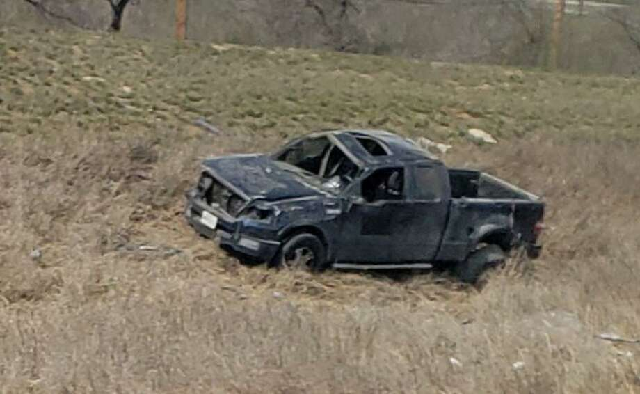 Two people were injured in this rollover crash reported early Monday along Mines Road near The Green Ranch Subdivision. Photo: César G. Rodriguez /Laredo Morning Times