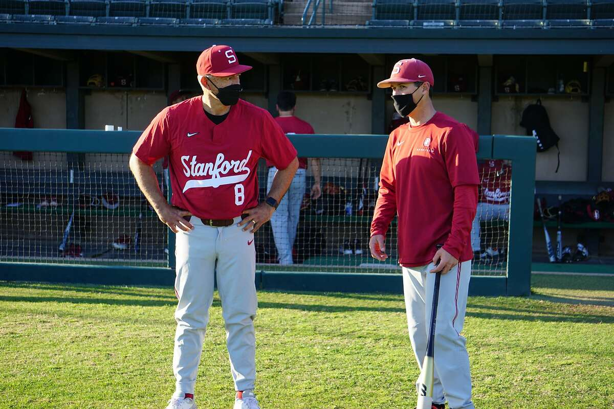 David Esquer (left) and Tommy Nicholson (right) at Stanford Baseball practice in Stanford, Calif. in February 2021.