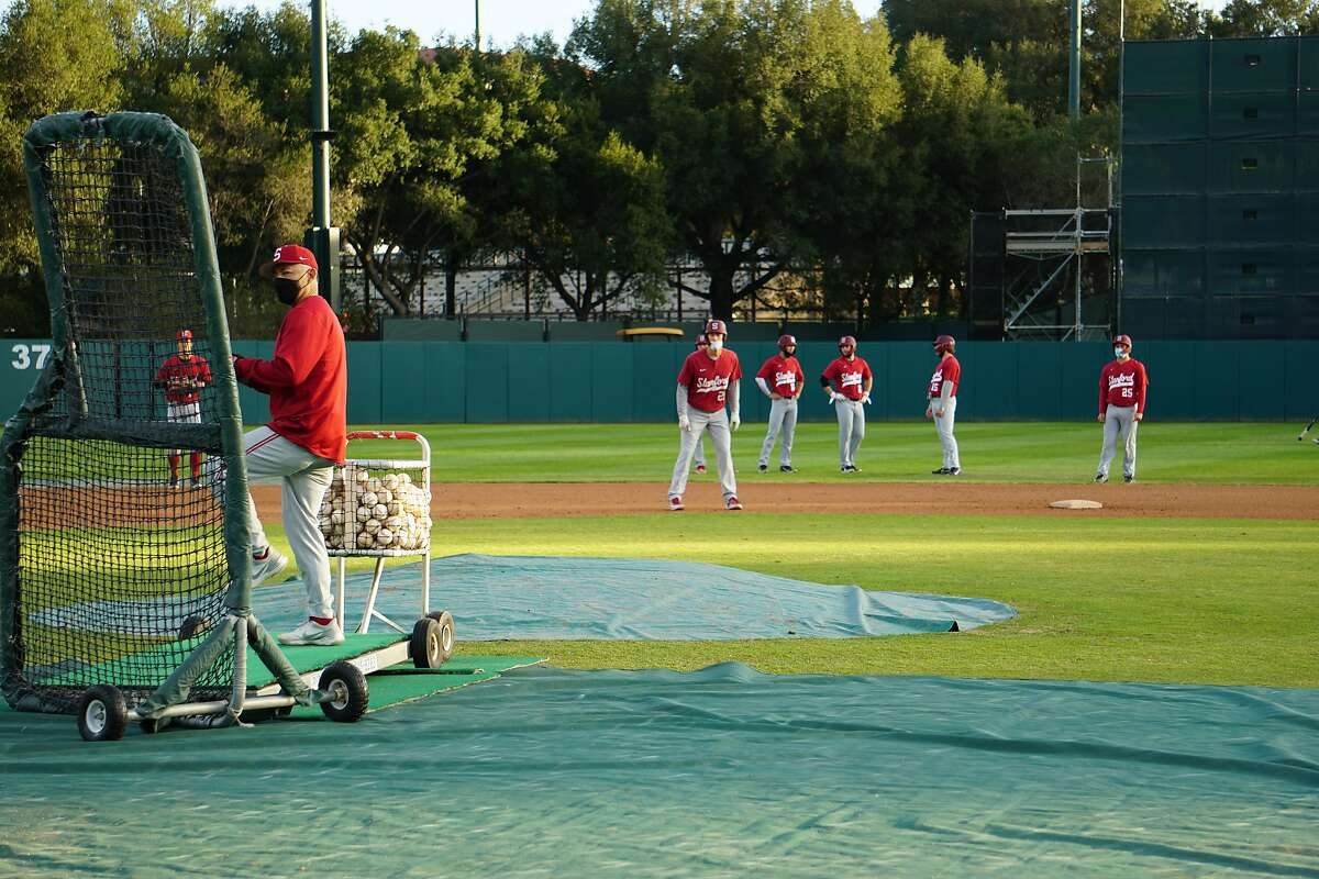David Esquer during batting practice at Stanford Baseball practice in Stanford, Calif. in February 2021.
