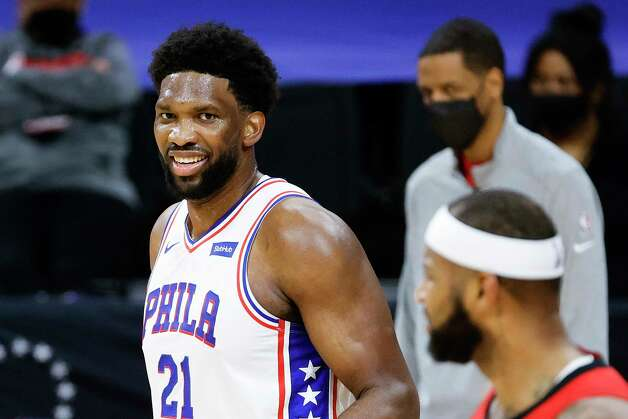 PHILADELPHIA, PENNSYLVANIA - FEBRUARY 17: Joel Embiid #21 of the Philadelphia 76ers looks on during the third quarter against the Houston Rockets at Wells Fargo Center on February 17, 2021 in Philadelphia, Pennsylvania. NOTE TO USER: User expressly acknowledges and agrees that, by downloading and or using this photograph, User is consenting to the terms and conditions of the Getty Images License Agreement. Photo: Tim Nwachukwu, Getty Images / 2021 Getty Images