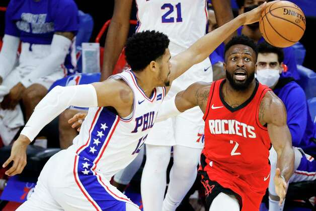 PHILADELPHIA, PENNSYLVANIA - FEBRUARY 17: David Nwaba #2 of the Houston Rockets reaches watches the ball during the fourth quarter against the Philadelphia 76ers at Wells Fargo Center on February 17, 2021 in Philadelphia, Pennsylvania. NOTE TO USER: User expressly acknowledges and agrees that, by downloading and or using this photograph, User is consenting to the terms and conditions of the Getty Images License Agreement. Photo: Tim Nwachukwu, Getty Images / 2021 Getty Images