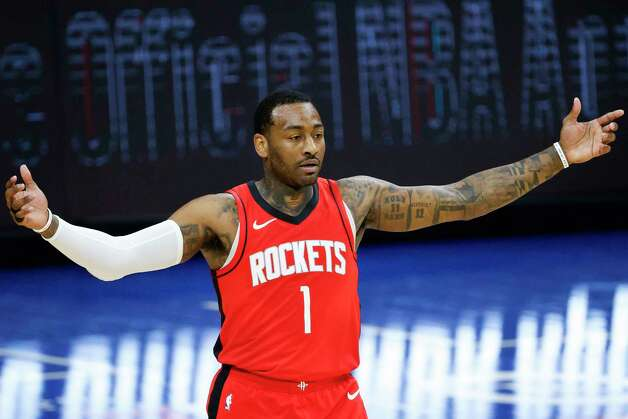 PHILADELPHIA, PENNSYLVANIA - FEBRUARY 17: John Wall #1 of the Houston Rockets reacts to a call during the fourth quarter against the Philadelphia 76ers at Wells Fargo Center on February 17, 2021 in Philadelphia, Pennsylvania. NOTE TO USER: User expressly acknowledges and agrees that, by downloading and or using this photograph, User is consenting to the terms and conditions of the Getty Images License Agreement. Photo: Tim Nwachukwu, Getty Images / 2021 Getty Images