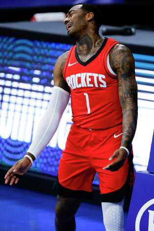 PHILADELPHIA, PENNSYLVANIA - FEBRUARY 17: John Wall #1 of the Houston Rockets reacts to a call during the first quarter against the Philadelphia 76ers at Wells Fargo Center on February 17, 2021 in Philadelphia, Pennsylvania. NOTE TO USER: User expressly acknowledges and agrees that, by downloading and or using this photograph, User is consenting to the terms and conditions of the Getty Images License Agreement. Photo: Tim Nwachukwu, Getty Images / 2021 Getty Images