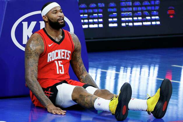 PHILADELPHIA, PENNSYLVANIA - FEBRUARY 17: DeMarcus Cousins #15 of the Houston Rockets reacts to a call during the first quarter against the Philadelphia 76ers at Wells Fargo Center on February 17, 2021 in Philadelphia, Pennsylvania. NOTE TO USER: User expressly acknowledges and agrees that, by downloading and or using this photograph, User is consenting to the terms and conditions of the Getty Images License Agreement. Photo: Tim Nwachukwu, Getty Images / 2021 Getty Images