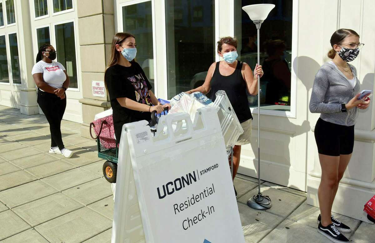 About 265 Stamford UConnstudents move into the 900 Washington BLVD residence hall Friday, August 14, 2020.