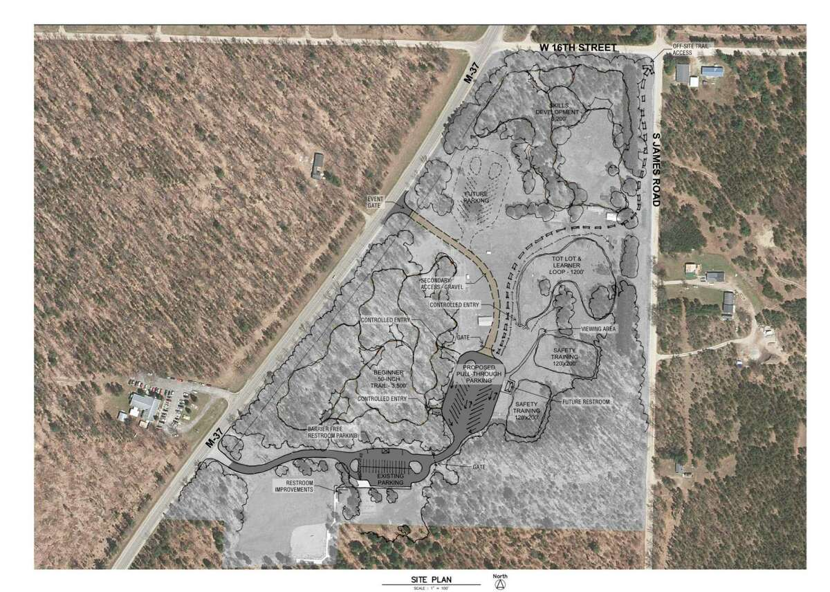 The plans for the ORV trainingpark, to connect to the current Webber Township Community Park, include a training area, a skills track, and a tots track along with additional access from M-37. (Photo courtesy of Lake County Parks Commission)