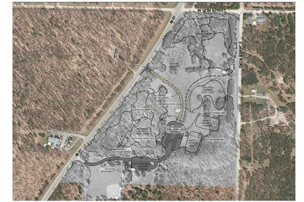 The plans for the ORV training park, to connect to the current Webber Township Community Park, include a training area, a skills track, and a tots track along with additional access from M-37. (Photo courtesy of Lake County Parks Commission)