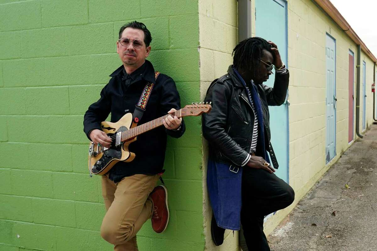 Adrian Quesada, right, and Eric Burton, of Black Pumas, pose for a portrait in Austin, Texas on Feb. 5, 2021. Their deluxe debut album is nominated for album of the year at the 2021 Grammy Awards and their single
