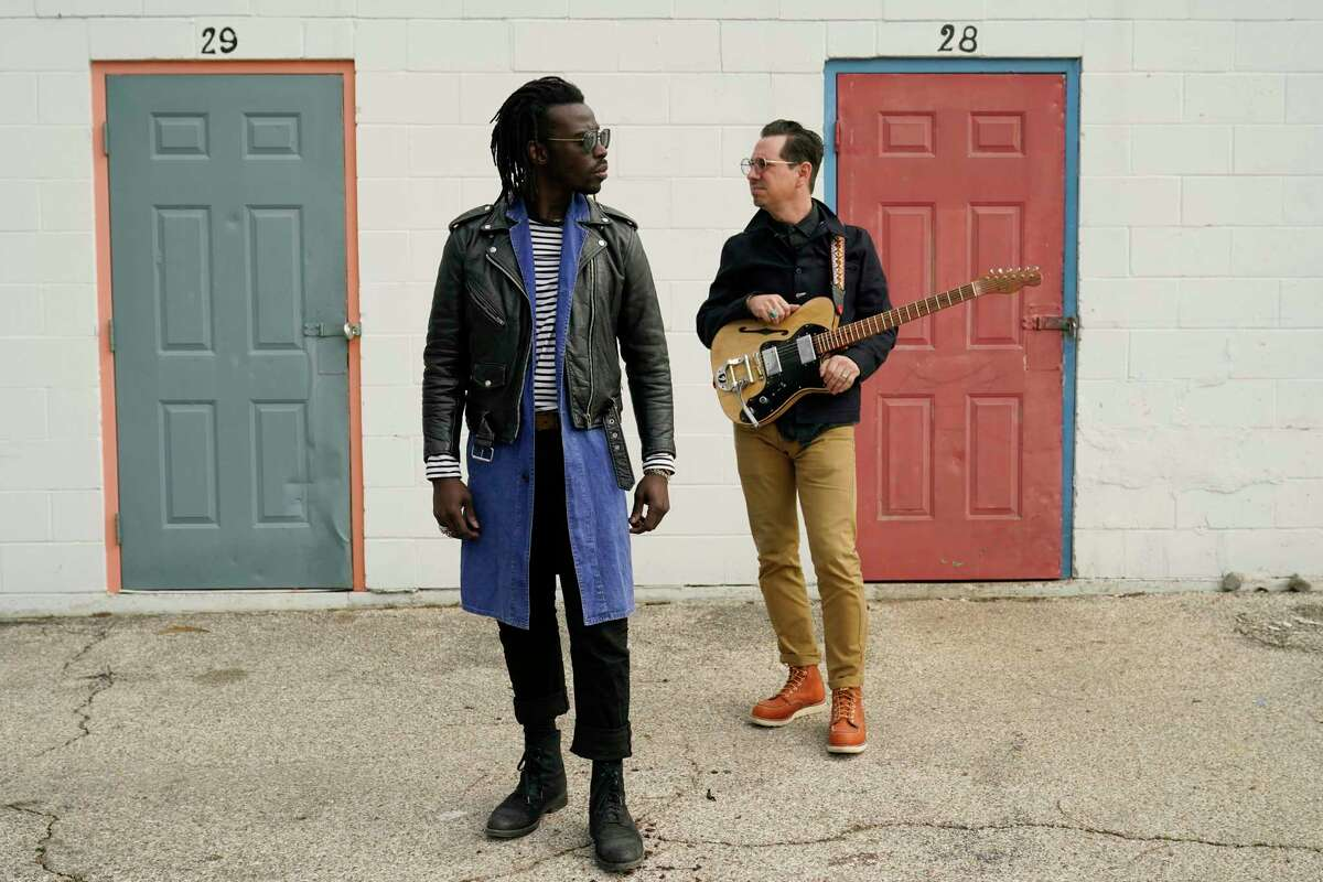 Adrian Quesada, left, and Eric Burton, of Black Pumas, pose for a portrait in Austin, Texas on Feb. 5, 2021. Their deluxe debut album is nominated for album of the year at the 2021 Grammy Awards and their single