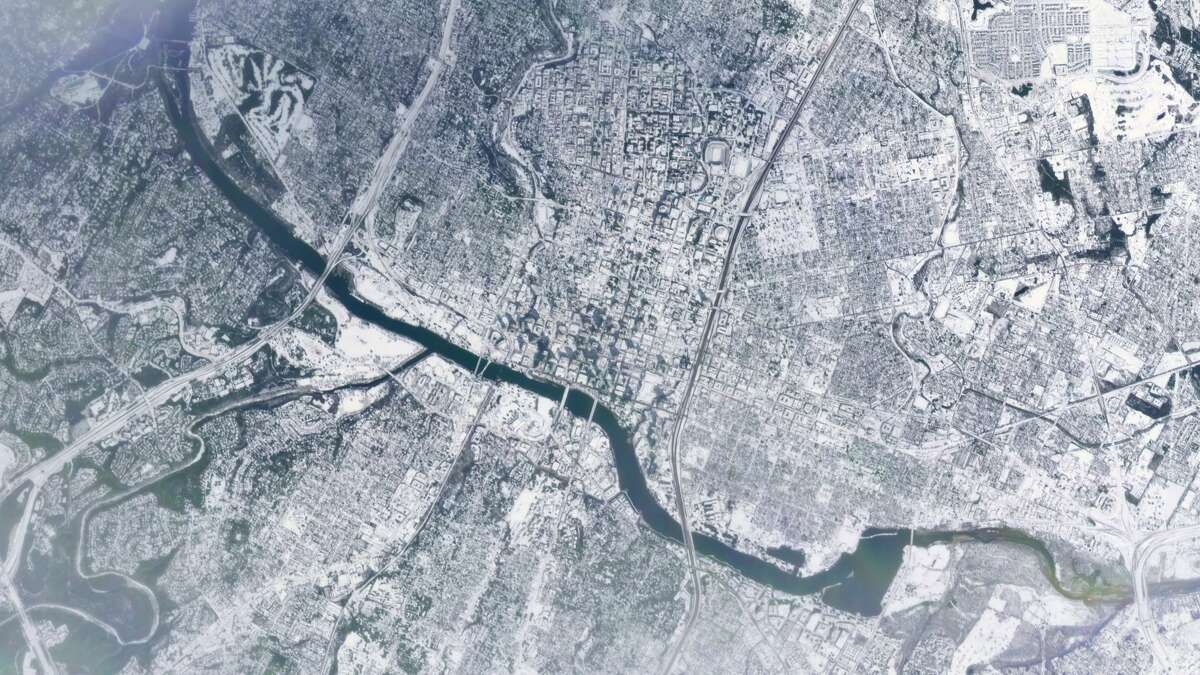 This photo of Austin, Texas, was taken by a satellite on Feb. 16, 2021. Photo provided by Planet Labs.