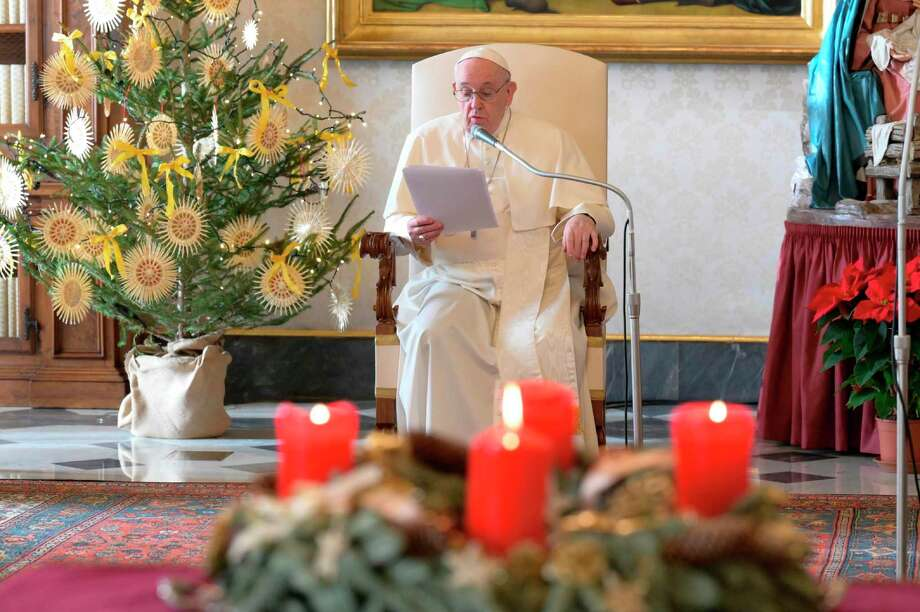 Pope Francis during the weekly general audience with the crib at the Apostolic Palace, in the Vatican, on Dec. 23, 2020. (Vatican Media/CPP/IPA/Abaca Press/TNS) / IPA/ABACA