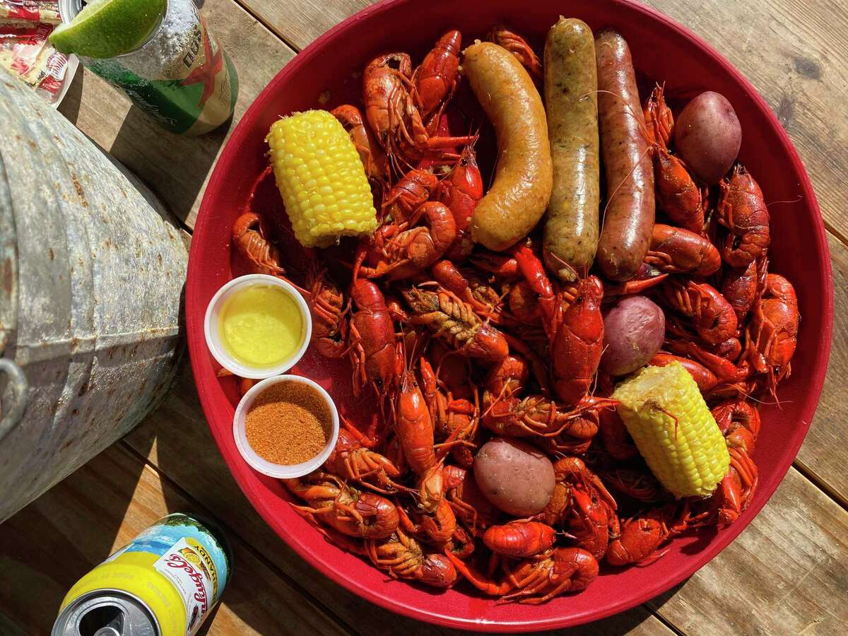At Comal Crawfish Co. in New Braunfels, get your crawfish boil extras such as corn and potatoes, crawfish boudin, jalapeño-and-cheese boudin and alligator sausage.