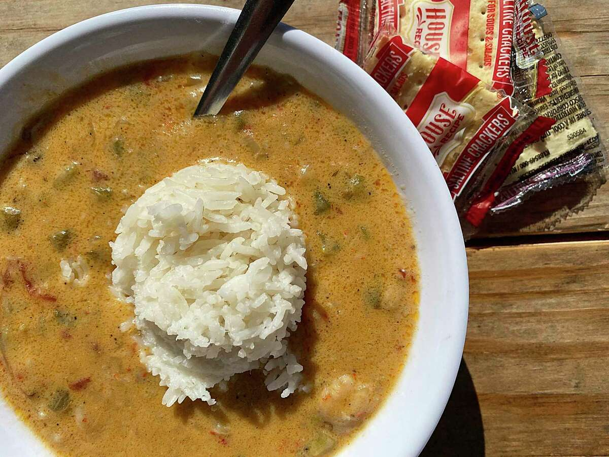 Crawfish étouffée comes with white rice at Comal Crawfish Co. in New Braunfels.