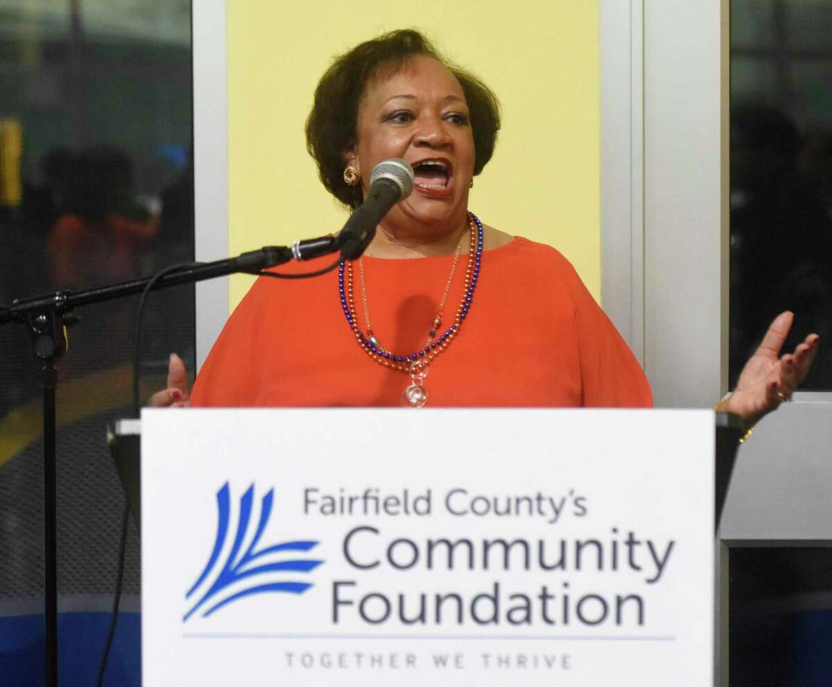 Fairfield County's Community Foundation President and CEO Juanita James speaks at the kickoff for Fairfield County's Giving Day, the region's biggest philanthropic day of the year, at Chelsea Piers in Stamford, Conn. Thursday, March 1, 2018.