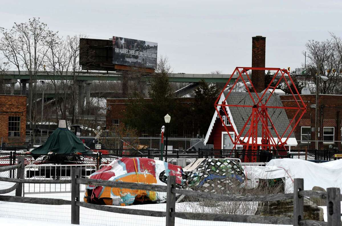 Huck Finn's Playland sits empty on a cold Thursday morning, Feb.18, 2021, in Albany N.Y. Outdoor amusement parks in New York State are now able to open in early April after being shut down since the start of the pandemic. (Will Waldron/Times Union)