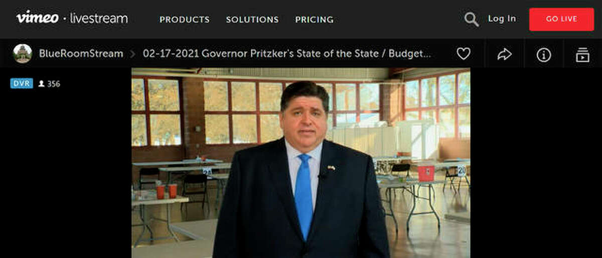 In this still image taken from video, Gov. J.B. Pritzker presents a remote version of his annual State of the State and budget addresses from a pavilion at the Illinois State Fairgrounds Wednesday, Feb. 17, in Springfield. Local lawmakers' appraisal of his address was split along party lines.