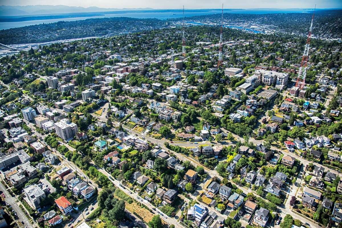 The suburban neighborhood of Queen Anne located just north of downtown Seattle Washington shot from an altitude of about 500 feet during a helicopter photo flight.