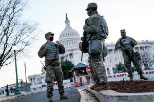 National Guard troops outside the U.S. Capitol in January. The presence has continued long after the insurrection, sending the wrong message for democracy, freedom and accountability.