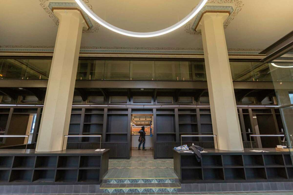The front lobby of the Light building is seen Wednesday, Feb. 17, 2021 as renovation by Graystreet Partners nears completion.