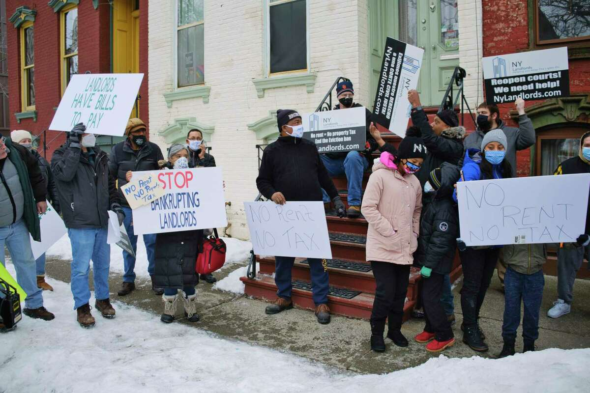 Landlords from around New York hold a protest outside the New York State Governor's Mansion on Thursday, Feb. 18, 2021, in Albany, N.Y. The City of Albany was poised in July 2021 to pass a good cause eviction law, which gives tenants more rights before being evicted. (Paul Buckowski/Times Union)