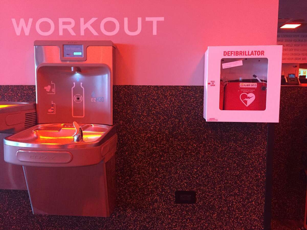 Photo of an automatic external defibrillator, or AED, at an Orangetheory club in Connecticut.