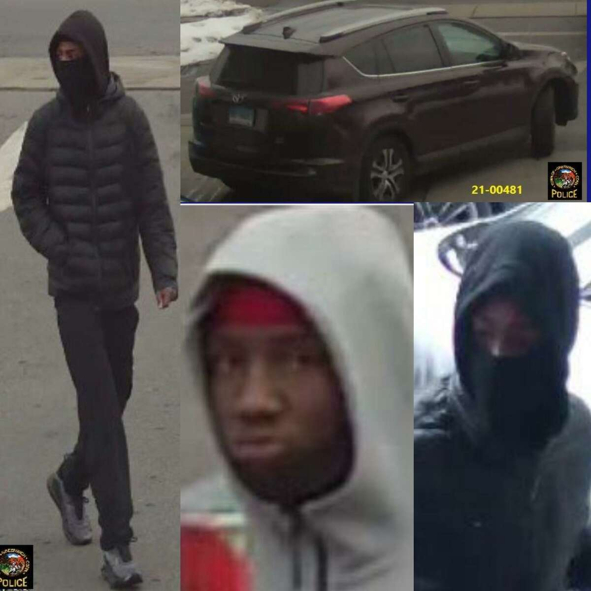 Police are seeking information on three suspects and a stolen car involved in a strong-arm robbery in Greenwich on Feb. 14.