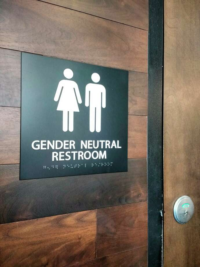 In this photo taken April 14, 2017, in New York City, a sign indicates that the bathroom is gender neutral. (Dreamstime/TNS) / (c) Erinrandolph | Dreamstime.com