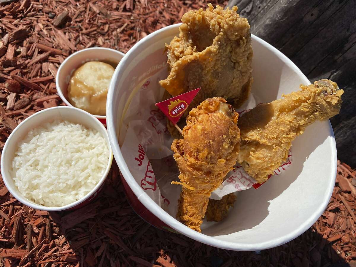 Fried chicken with sides of rice and mashed potatoes with gravy from Jollibee, as seen at its San Antonio location. The Filipino fast-food chain is opening a new restaurant in San Francisco.
