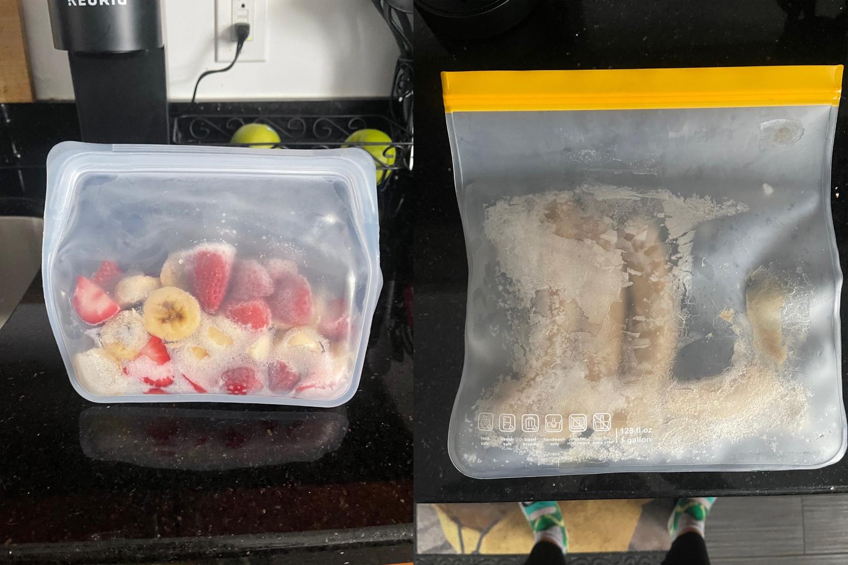Strawberries & bananas in a Stasher bag vs. bananas in a budget-friendly reusable bag