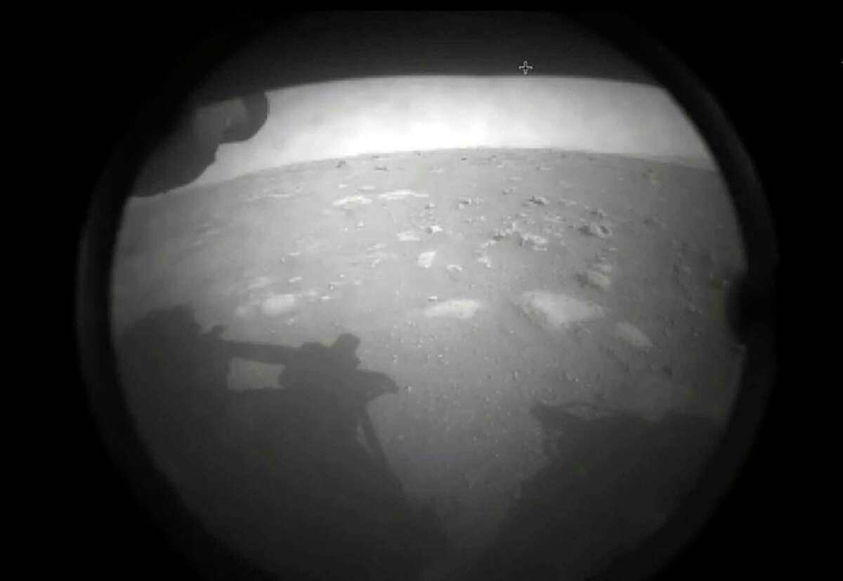 This is one of the first images NASA's Perseverance rover sent to Earth after it landed on Mars on Feb. 18, 2021.