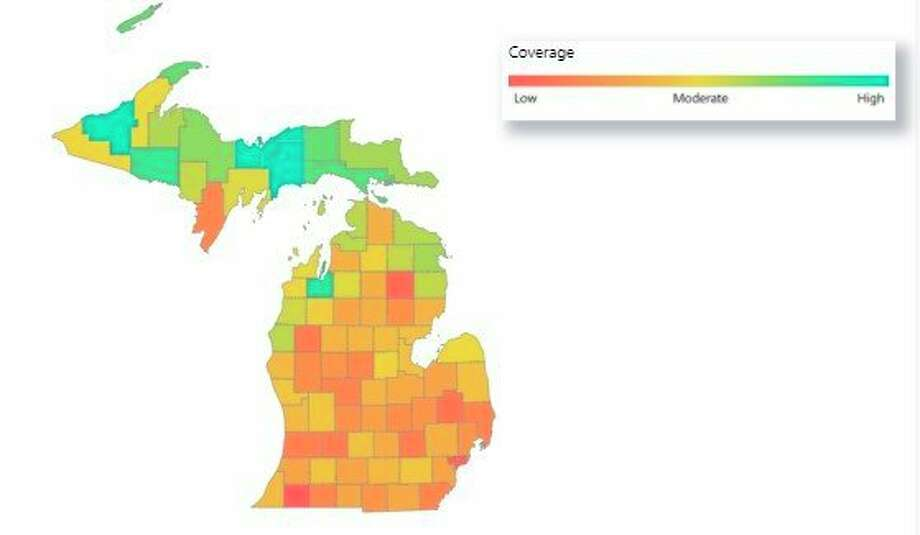 The Michigan Department of Health and Human Services tracks vaccine coverage by county. Manistee County has a cumulative coverage of 18.9%. (Screenshot/MDHHS website)