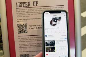 An sign for interactive listening is part of the First Step to Freedom exhibit including President Abraham Lincoln's only surviving  handwritten preliminary version of the Emancipation Proclamation at University at Albany on Thursday, Feb. 18, 2021 in Albany, N.Y. (Lori Van Buren/Times Union)