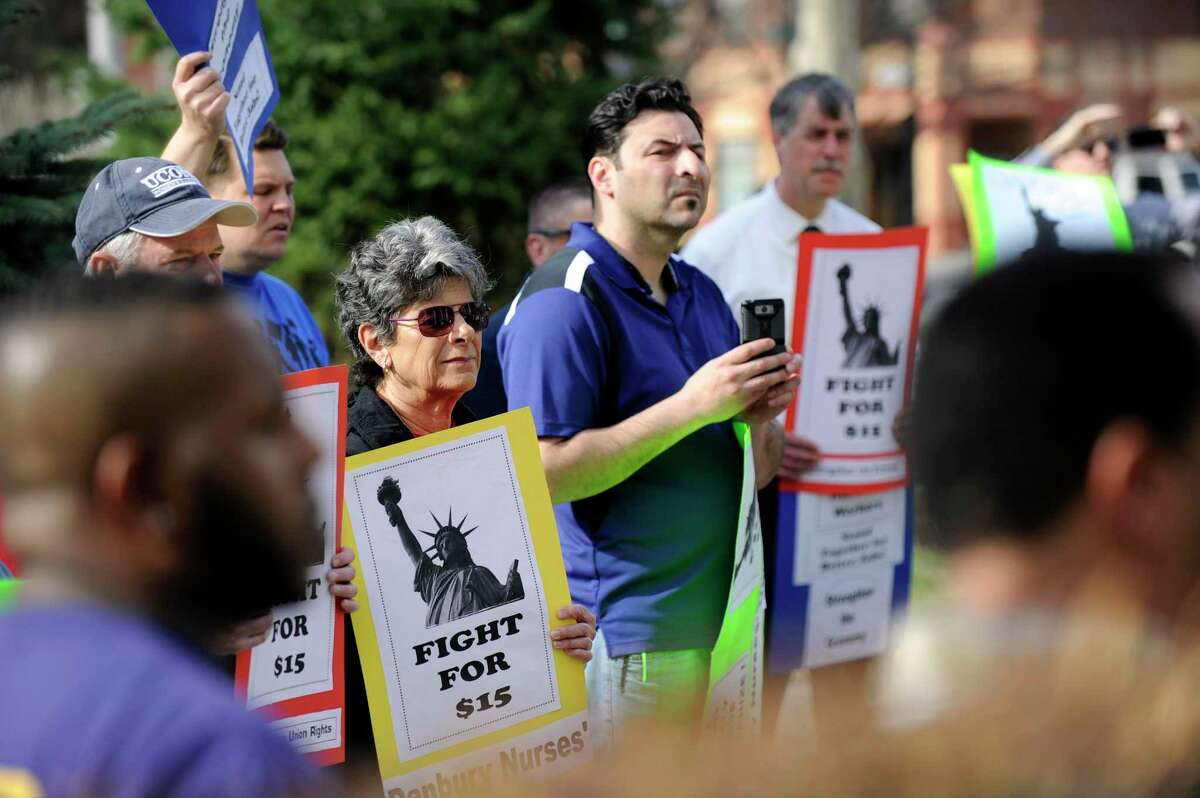 A rally in favor of raising the minimum wage was held in Danbury in 2015.