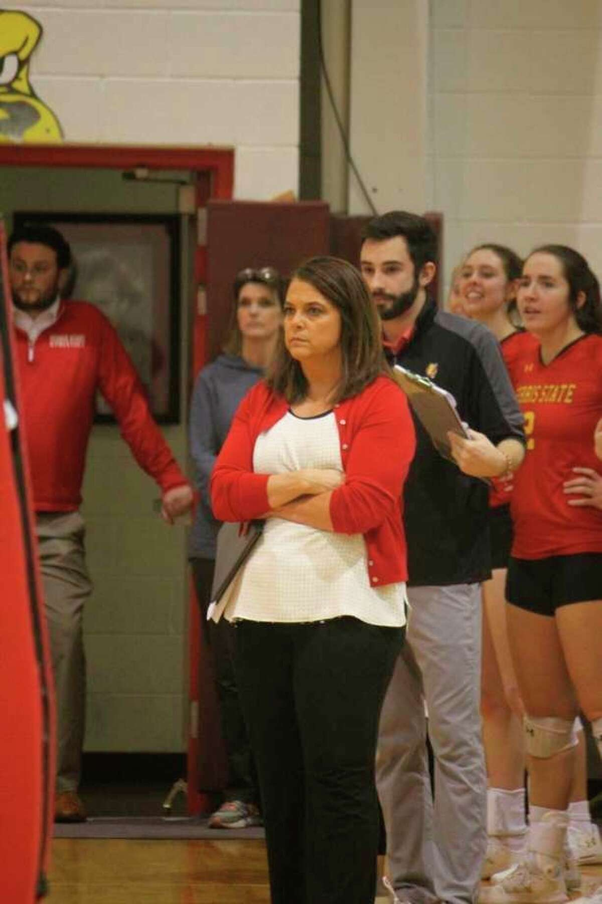 Ferris State volleyball coach Tia Brandel-Wilhelm watches her team during a match last season. (Pioneer file photo)