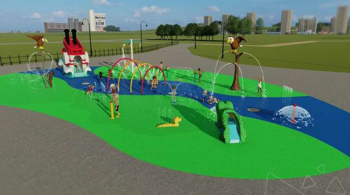 This artist's rendering shows the splash pad planned along the riverfront in Alton. Officials on Thursday announced ground could be broken in two to three weeks for the project that initially was announced in September 2019 but delayed by COVID-19 concerns.