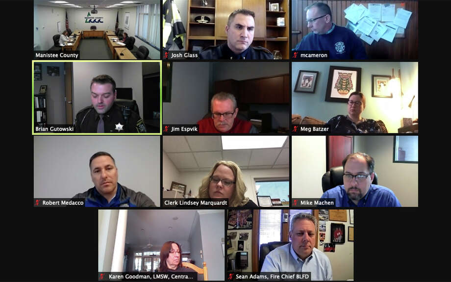 A list of Manistee County leaders pointed to looming problems in the area with emergency response services that several said did not start with the December merger, but also have not yet improved with Mobile Medical Response at the helm. Photo: Screenshot From The Manistee County Public Safety Committee Meeting