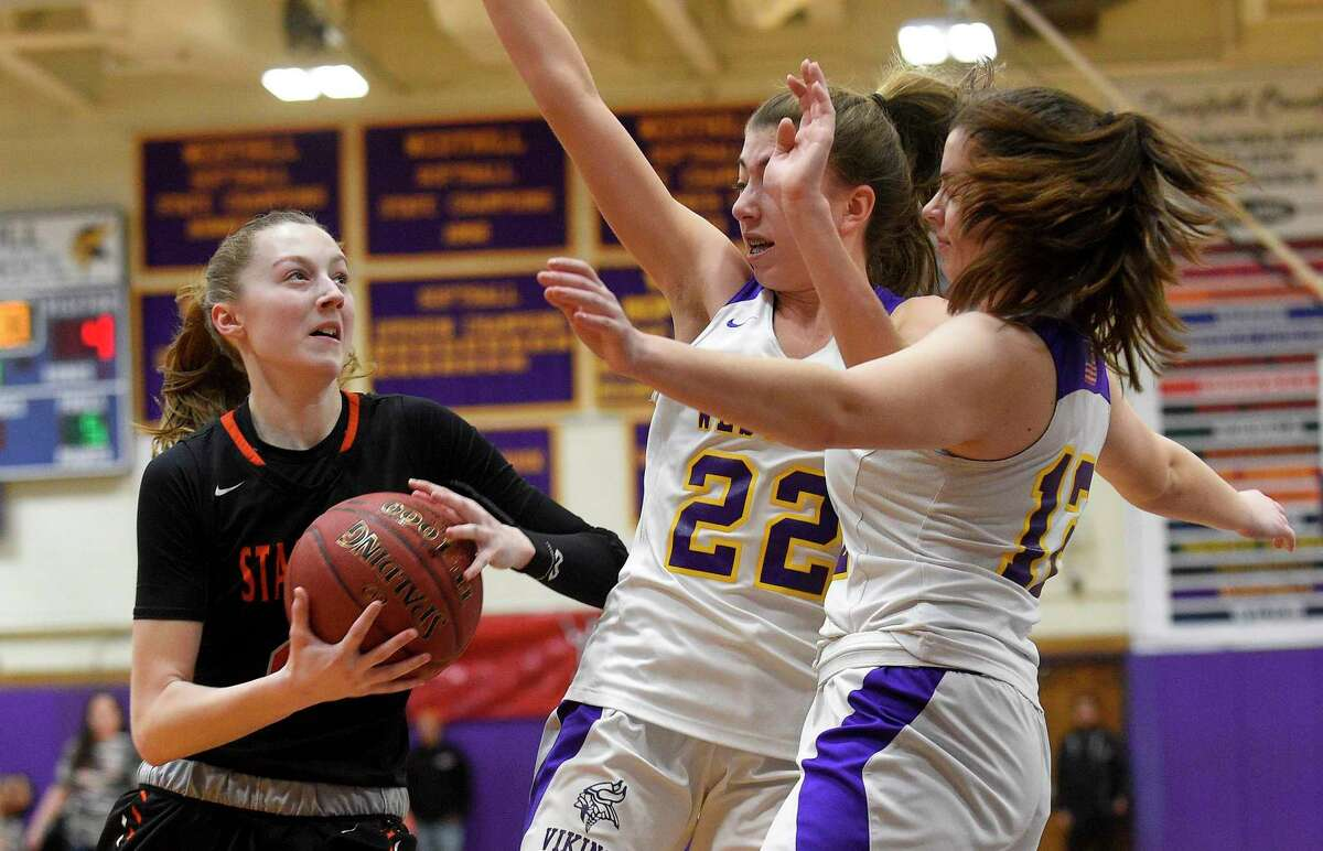 City rivals Stamford and Westhill in action during a girls basketball game of the MLK Classic at Westhill High in 2020.