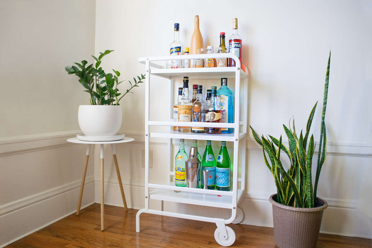 A $25 utility cart from Ikea transformed into the bar cart of my dreams.
