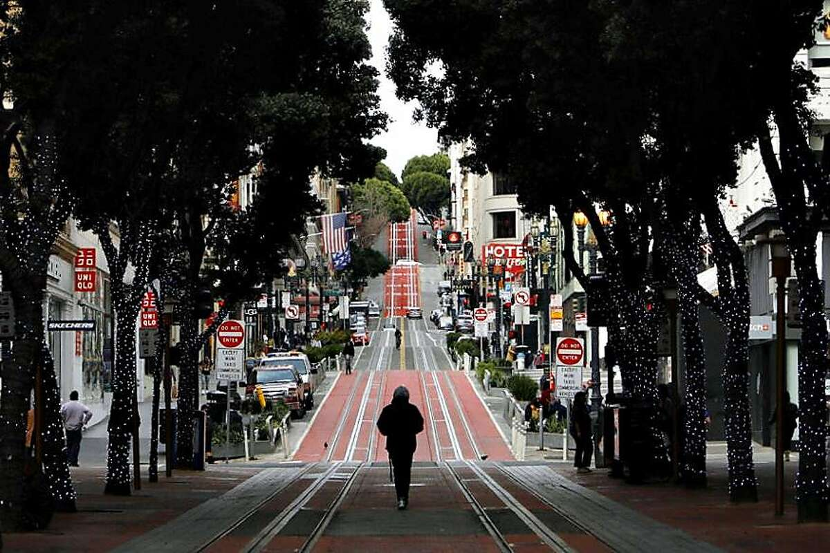 San Francisco's cable car tracks have been empty since March, when COVID restrictions started.