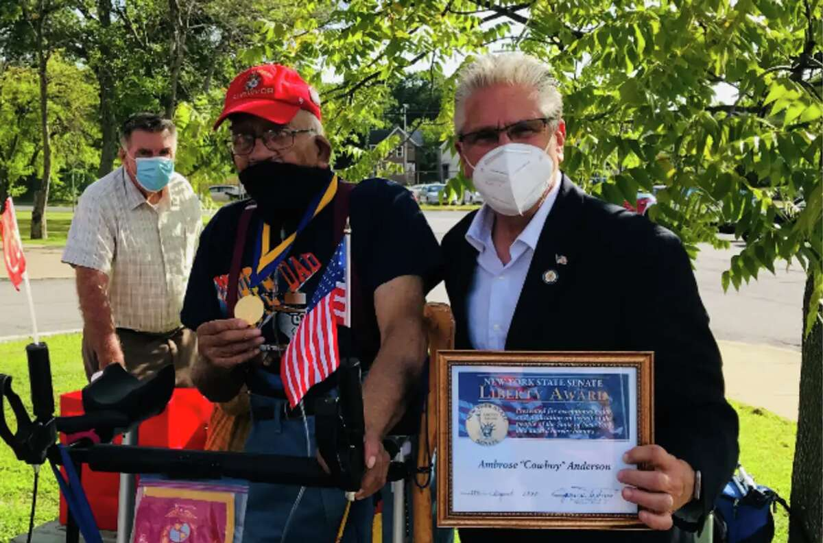 """State Sen. Jim Tedisco presents Ambrose """"Cowboy"""" Anderson with the New York State Senate Liberty Medal outside his Gloversville home on Friday, Aug. 28, 2020."""